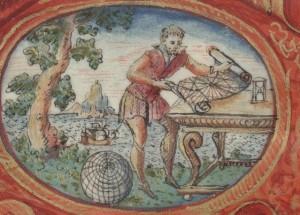 Frontispice des Premières Oeuvres de J. de Vaulx (BnF, Ms fr 150 - détail)
